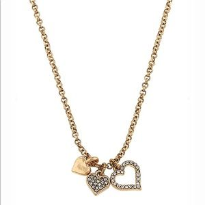 🆕Gold Tone & Crystal Triple Heart Charm Necklace